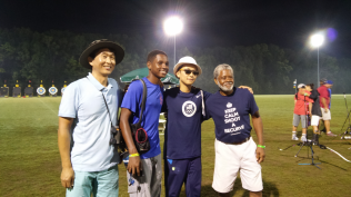 (Right to left) Coach Brown, Gold Elimination Round Winner Andrew Park, Dallas and Andrew's Coach.